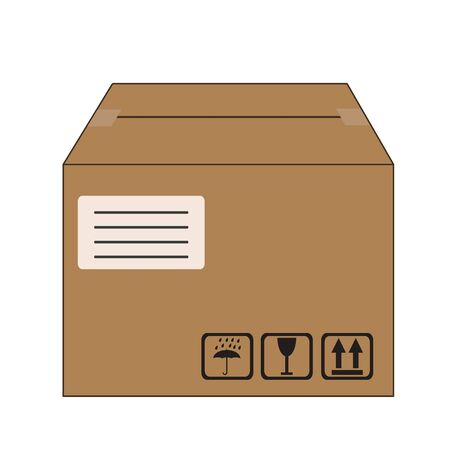 brown box: brown packed cardboard box with address label and package handling icons