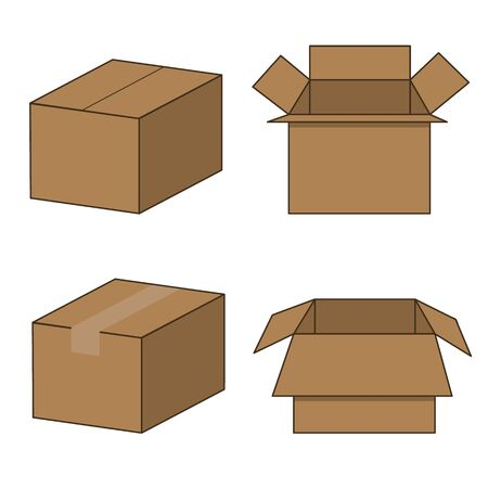 set of four cardboard boxes in different varieties