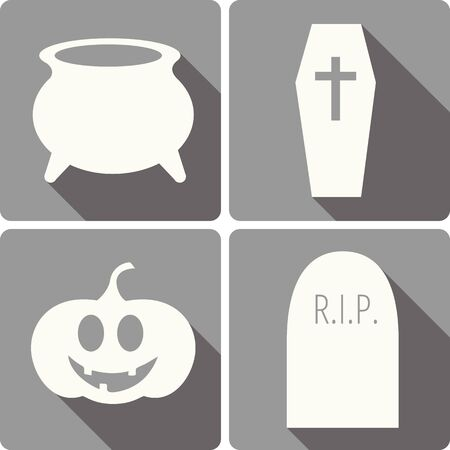 set of four Halloween vector icons with images of a witch cooking pot, gravestone, jack-o-lantern and a coffin