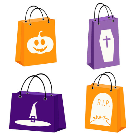 shopping store: vector set of four Halloween paper bags with Halloween symbols