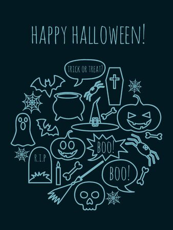 vector greeting card for Halloween with holiday symbols and text Happy Halloween text above