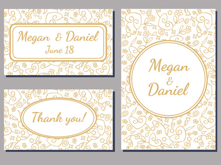 ornate background: set of wedding cards with a curly golden ornate over white background Illustration