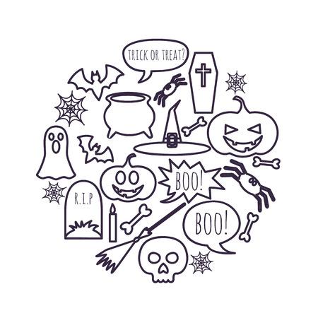 vector set of Halloween symbols placed in a circle Иллюстрация