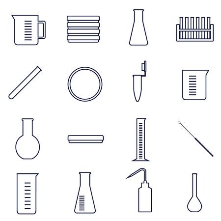 set van iconen van instrumenten en glaswerk voor microbiologie lab werk