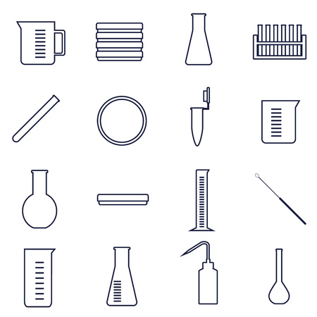 set of icons of tools and glassware for microbiology lab work Illustration