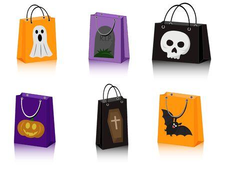 vector set of six Halloween paper bags with Halloween symbols 向量圖像