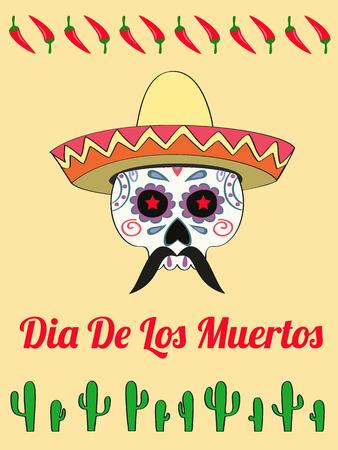 vector card with a decorated human skull in sombrero and text Dias de Los Muertos