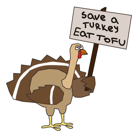 a turkey holding a placard with a text save turkey
