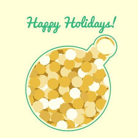 cut out silhouette of a Christmas ball ornament opening golden sparkling background and text Happy Holidays