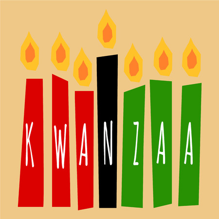 kwanzaa candles lightning on the beige background with letters Kwanzaa on them