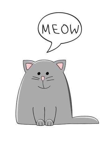 whisker characters: vector illustration of a cute grey cat with a speech bubble saying Meow Illustration