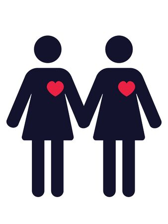 pictogram of two women in love holding hands