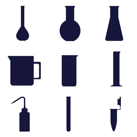 set of icons of laboratory glassware