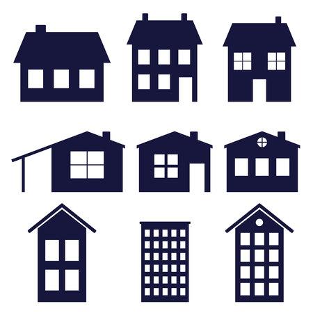 a set of house icons  vector illustration Иллюстрация