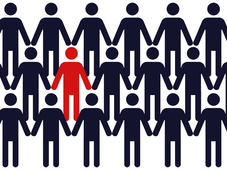singular: one red colored symbol of a man in a crowd of identic blue figures