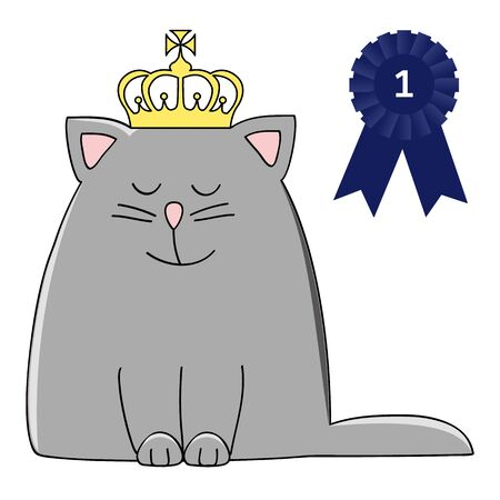 happy grey cat with a crown and pageant winner rosette