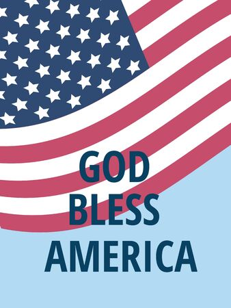 god bless: American flag fluttering over the blue sky and words God bless America