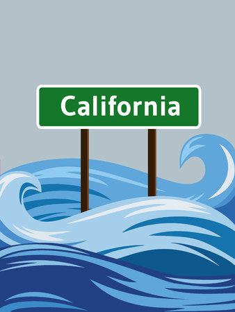 overflow: California road sign sinking in water flood Illustration