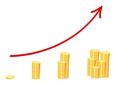 wykres z rosnącą czerwoną strzałką i złote monety wykazujące wzrost bogactwa Ilustracje wektorowe