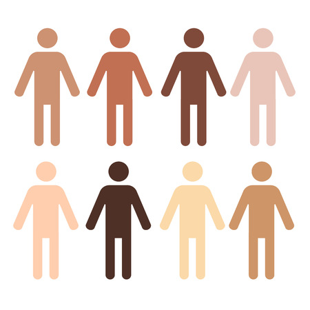 asian and indian ethnicities: eight pictograms of human figures with different skin color