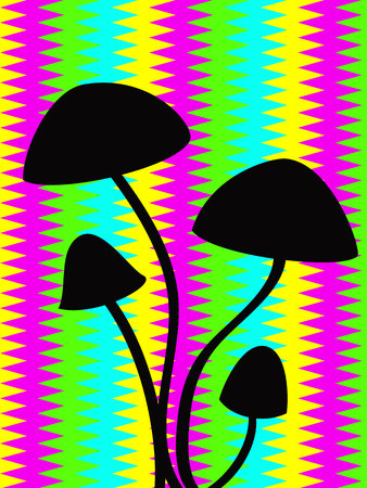 psychodelic: black outline of hallucinogenic mushrooms over the psychodelic stripped background Illustration