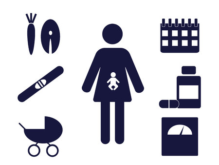 pictogram of a pregnant woman with pregnancy related icons around 矢量图像