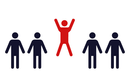 achievement clip art: one happy jumping human figure in a row of identical standing men