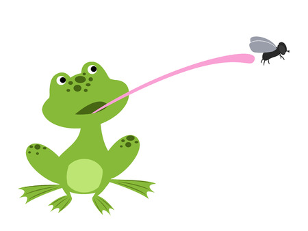 cute frog with a long tongue trying to catch a fly