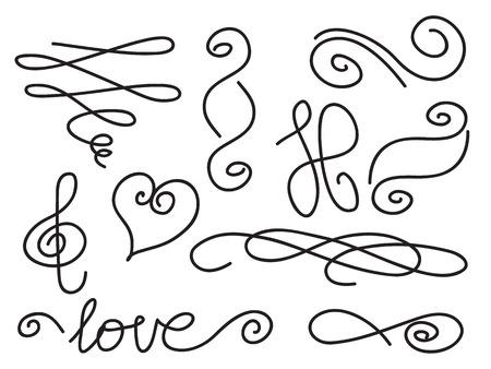set of handwritten curls and swirls design elements