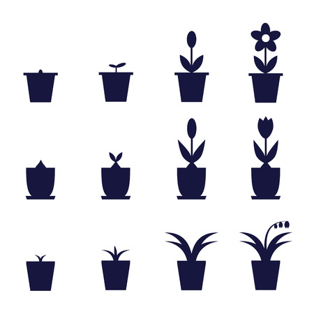 pot flowers icons showing levels of their growth and development Illustration