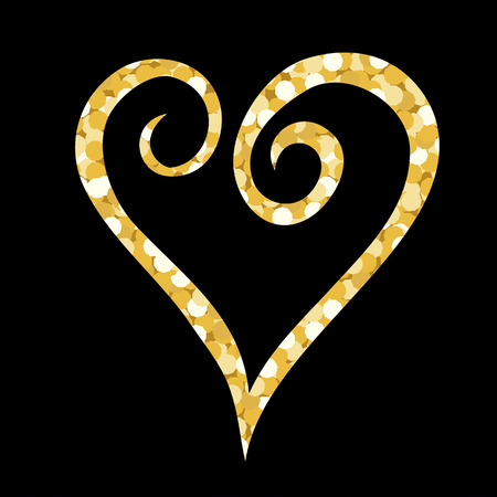 vector illustration with gold spangles in a shape of a heart over the black backdrop Illustration
