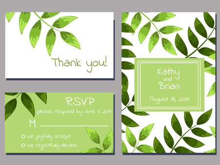 set of wedding cards template with green brunches over white background