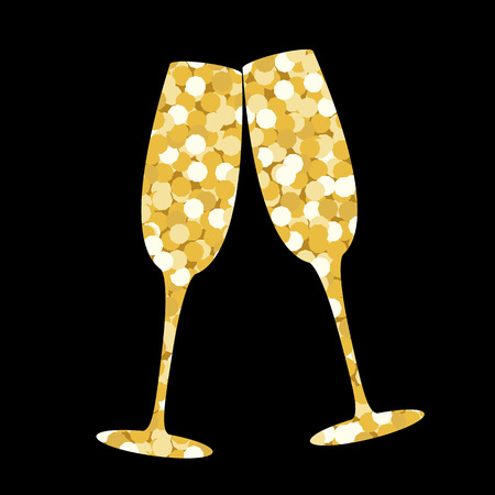 Two champagne glasses made of golden sequins on a black backdrop Иллюстрация