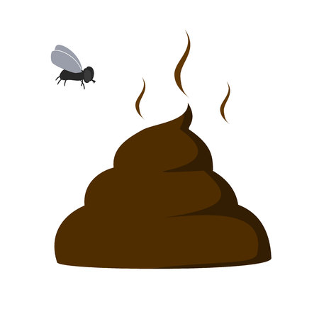unpleasant: vector illustration of a poop with a fly over it