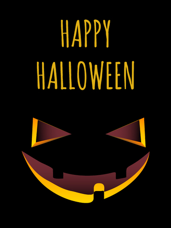 Jack-o-lantern's grinning face over the black background and text Happy Halloween
