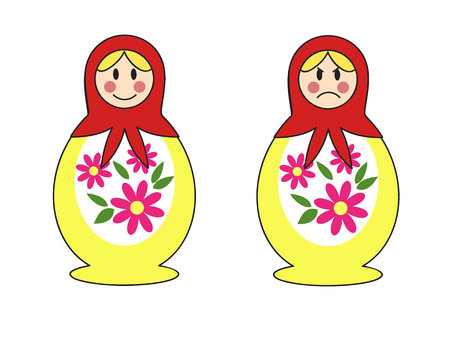 a set of two traditional Russian nesting dolls with happy and angry face Фото со стока - 89916417
