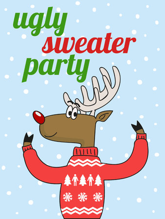 텍스트와 함께 재미있는 스웨터에 귀여운 사슴.