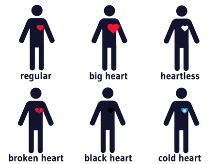 Set of six human pictograms with different kinds of hearts