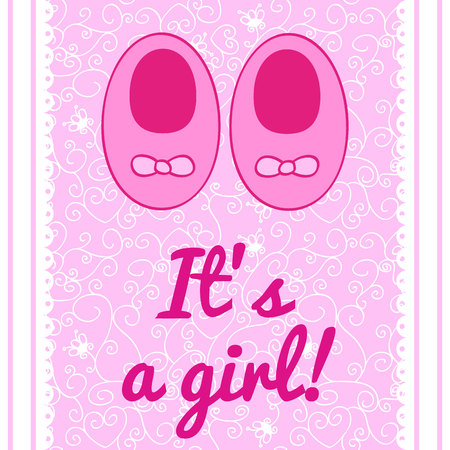 a cute postcard with small baby shoes for a girl and text it's a girl