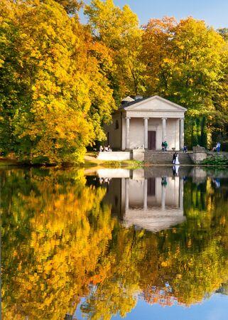 arcadia: Water reflection of Diana Temple in the autumn, Arcadia Park, Poland Stock Photo