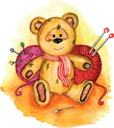 avail: Drawing Teddy bear yarn knitting needles and pins avail