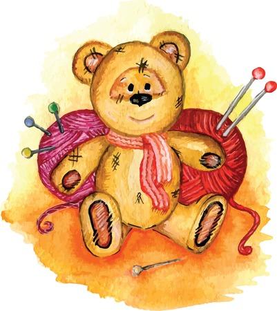 Drawing Teddy bear yarn knitting needles and pins avail