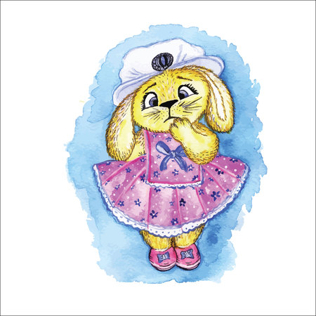 lop: Bunny in dress toy is hand-painted with watercolors.