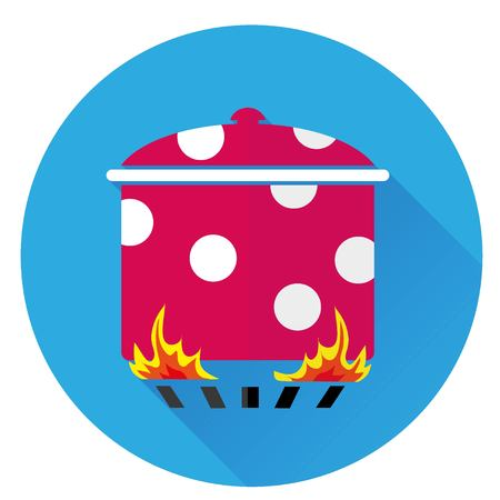 icon pot is on the fire on blue background with shadow Illustration