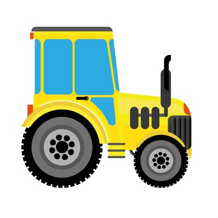 farm tractor yellow with a large wheel in the toon style Illustration