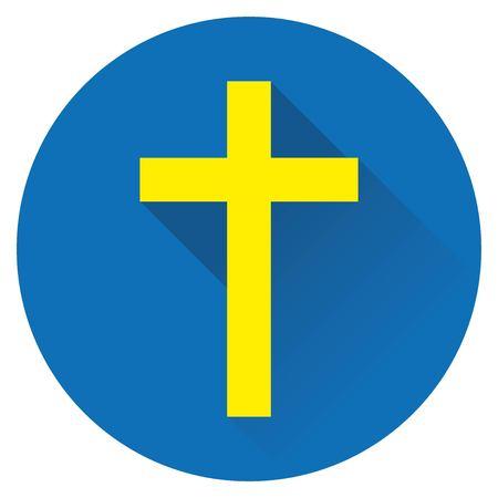 icon cross Jesus yellow on a blue background 矢量图像