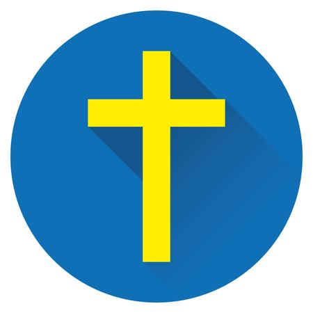 icon cross Jesus yellow on a blue background Vettoriali