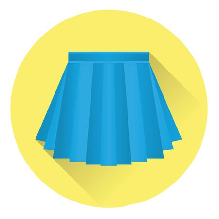 icon pleated skirt blue on a yellow background with shadow