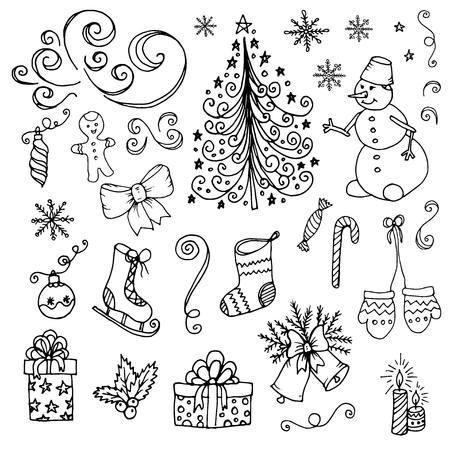 christmas tree illustration: Doodle Christmas New year snowman tree. Vector illustration.