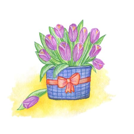 basket of flowers in basket with bow , colored with watercolor